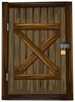 Wooden door with lock