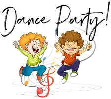Two boys dancing and words dance party