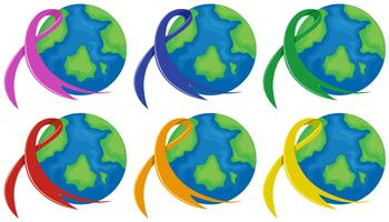 Planet earth and different color ribbons
