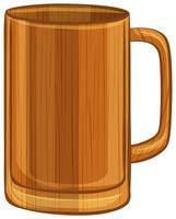 Wooden mug on white background