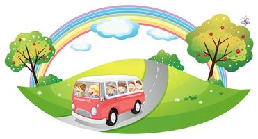 A pink bus with passengers vector