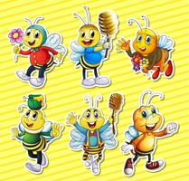 Bees and honey set vector