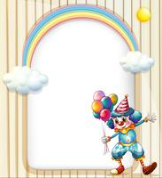 An empty surface with a clown holding balloons