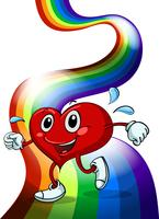A heart walking above the rainbow