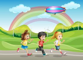 Un niños corriendo vector