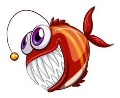An ugly angry fish vector