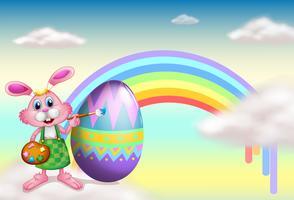 Un coniglio e un arcobaleno