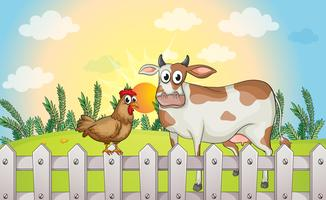 A cow and a rooster vector