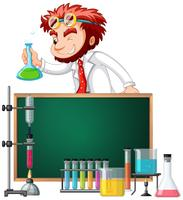 Mad scientist and science equipments vector