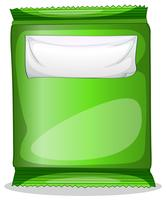 A green pouch with an empty label template