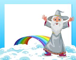 An empty template with a wizard and a rainbow
