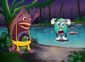 des monstres et une rivière