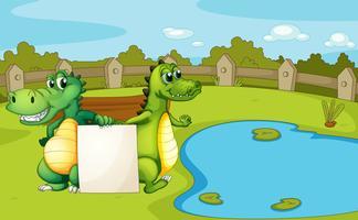 Crocodilos segurando uma bandeira vazia