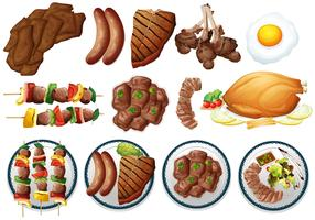 Different types of grilled food