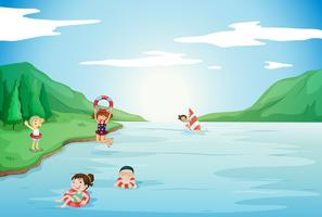 kids swimming in water vector