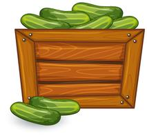 Cucumber on wooden banner