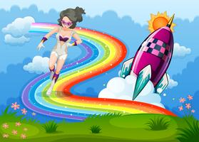 Un superhéroe sobre el arco iris y un cohete.