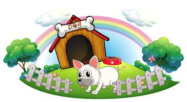 A dog in a doghouse with fence