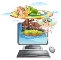 Computer screen with fairies on island