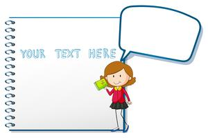 Speech bubble template with woman holding book