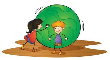 crianças e bola