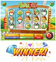 Slot game template with farm animal characters