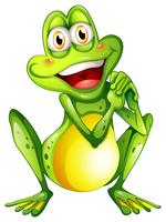 A cheerful green frog