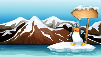 A penguin above the iceberg with an arrowboard