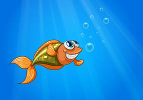 A smiling fish in the ocean vector