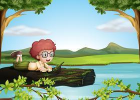 Um tronco flutuante com um menino