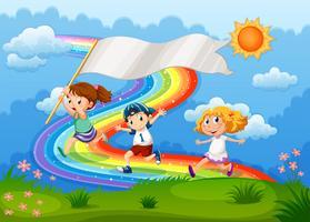 Crianças correndo com uma bandeira vazia e um arco-íris no céu