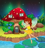 A fairy flying near the red mushroom house