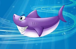 Um mar profundo com um tubarão