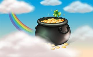 A pot of coins with a clover plant