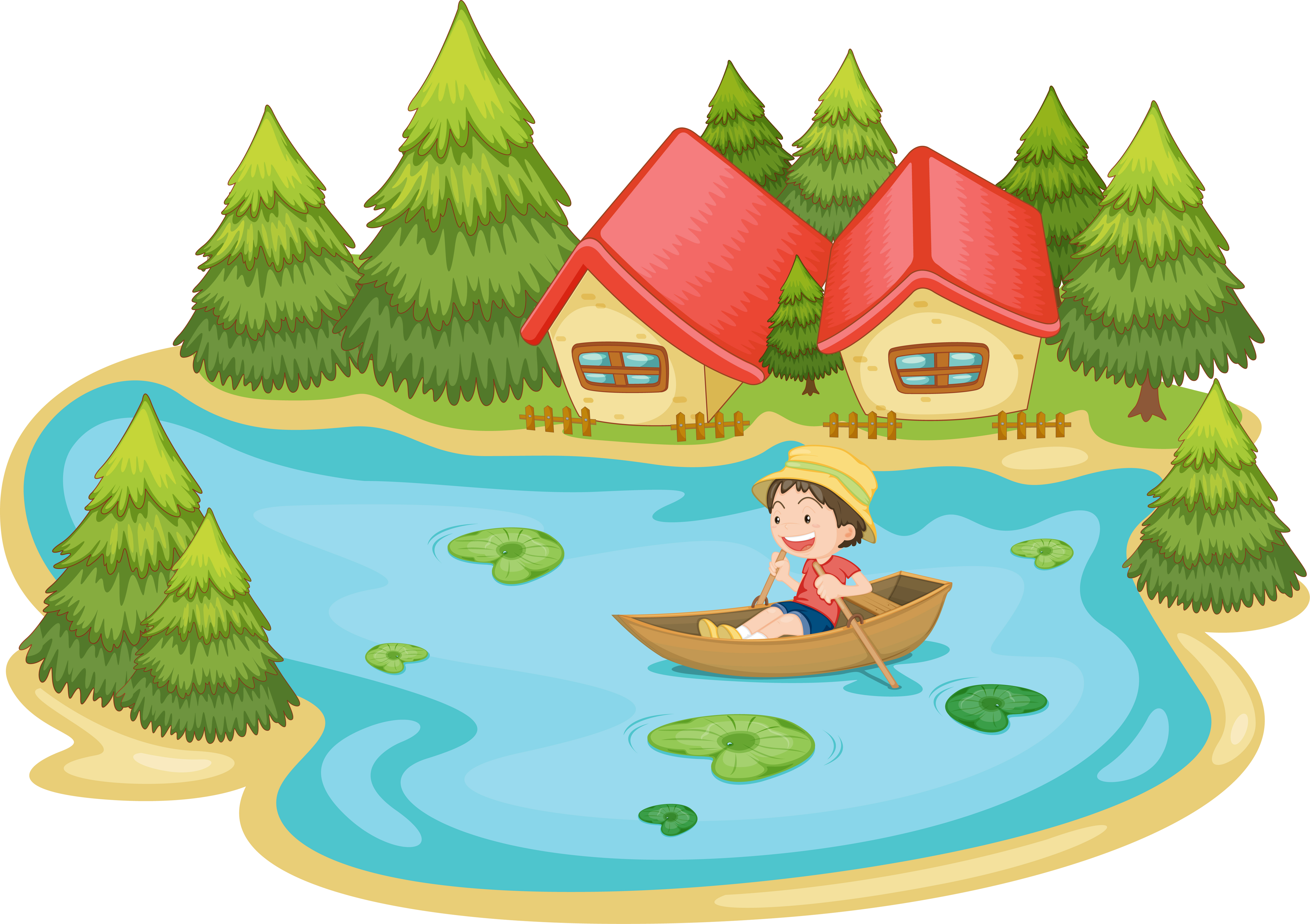 Summer Scene By The Lake Download Free Vectors Clipart Graphics Vector Art