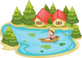 De zomerscène door het meer