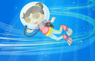 under water girl vector