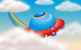 nave espacial e arco-íris