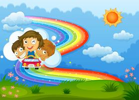 Kids riding on a vehicle passing through the rainbow vector