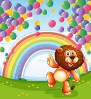 Un leone sotto i palloni galleggianti con un arcobaleno