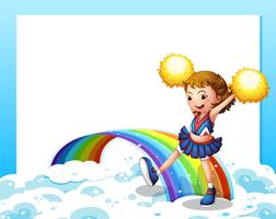Um modelo vazio com um cheerer e um arco-íris