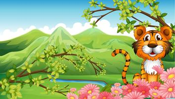 A tiger near the flowers across the mountains vector