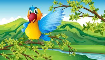 Un pappagallo colorato nella foresta