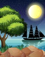 A black ship at the sea under the bright moon