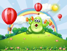 A green monster exercising at the hilltop with floating balloons