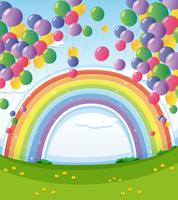 Un cielo con un arco iris y un grupo de globos flotantes.