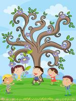 kids under a tree vector