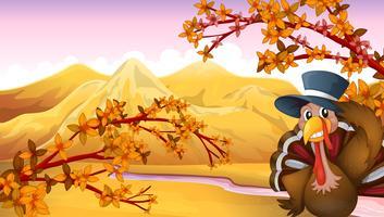 Un pavo con un sombrero en el bosque. vector