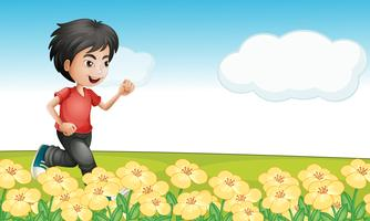 A boy running in the garden