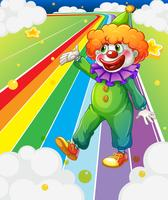 A clown standing in the colorful road